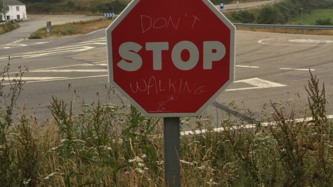 Don`t stop walking. It`s really important.