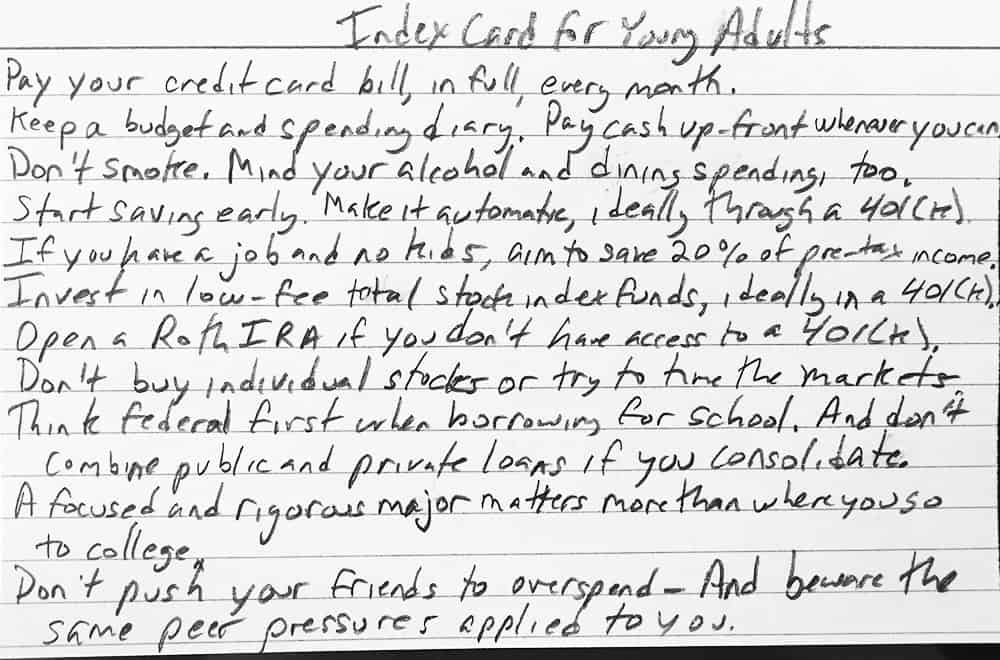 Index card for young adults